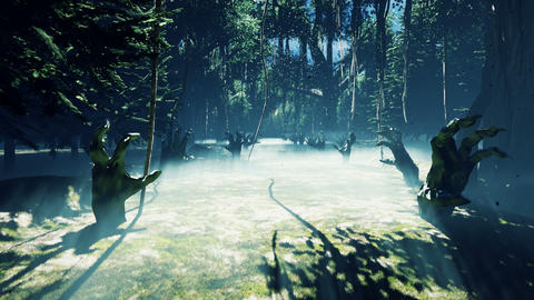 Dark mysterious misty swamp forest landscape. Dead hands reach out from the ground, steam rises from Animation