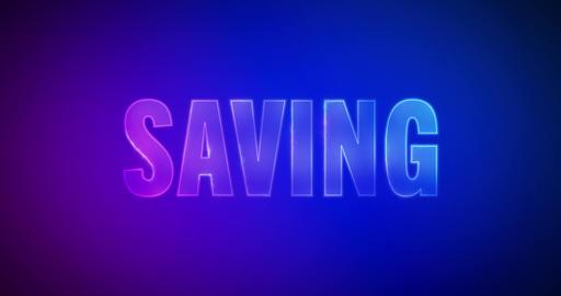 Saving. Electric lightning words. Logotype Animation