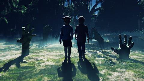 Little children walk through a dark mysterious misty swamp forest landscape. Dead hands reach for Animation