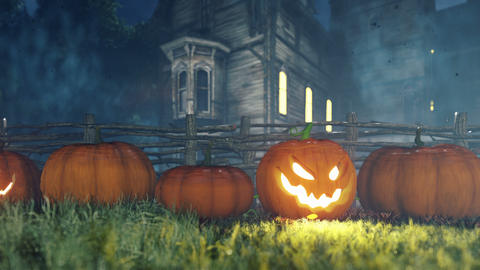 Halloween background animation with the concept of creepy glowing pumpkins and old creepy mansion Animation