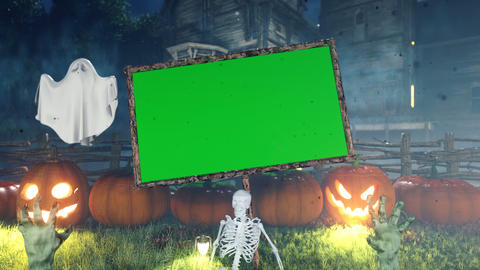 Halloween background animation with green screen banner, with creepy skeleton, hands of the dead, Animation