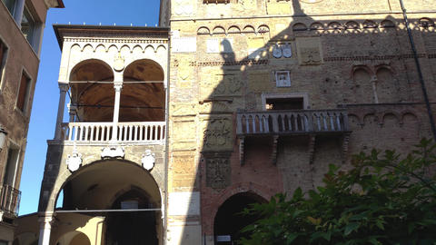 Building in Piazza dei Signori in Padua in Italy, one the most famous place in the city Live Action