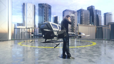 A white unmanned passenger drone is preparing for takeoff. 3D rendering of animation Animation
