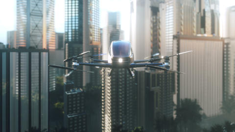 An unmanned passenger drone flies over the city. Unmanned air taxi. 3D rendering of animation Animation