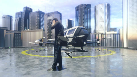 A unmanned passenger drone is preparing for takeoff. 3D rendering of animation Animation