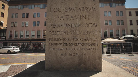 Historic stele and monument in Garibaldi square in Padua in Italy Live Action