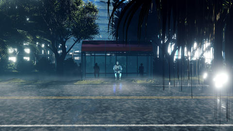 A futuristic humanoid robot sits alone at a bus stop. The concept of the future Animation
