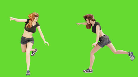 A young beautiful woman is engaged in sports exercises. 3D animation of wellness concept in front of Animation