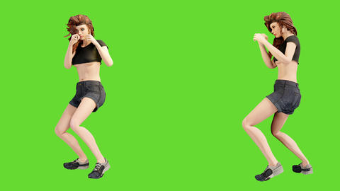 A young beautiful woman is engaged in sports exercises. Looping 3D animation of wellness concept in Animation