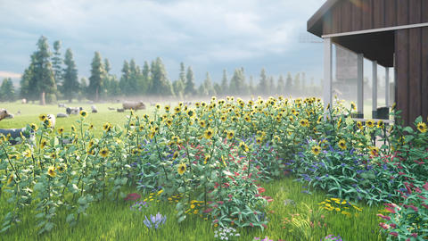 Livestock farm. Cows and sheep graze in a green meadow. Rustic farm with Pets. Animal husbandry and Animation