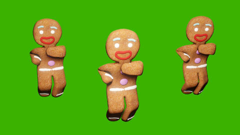 The gingerbread man is dancing a Christmas dance. The concept of the celebration. Looped animation Animation