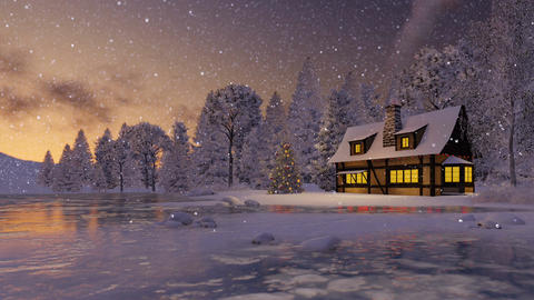 Illuminated rustic house and christmas tree at dusk Footage