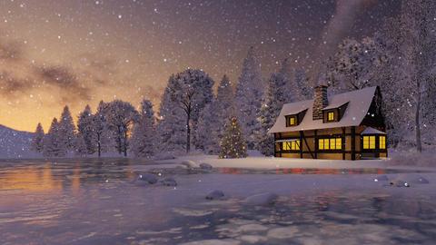 Illuminated rustic house and christmas tree at dusk Footage