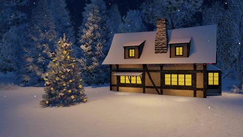 Illuminated house and Xmas tree at snowfall night Footage
