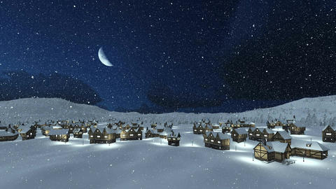 Cozy snowbound township at snowfall night Animation