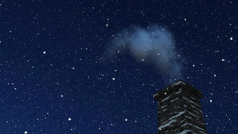House chimney with smoke at snowfall winter night Animation