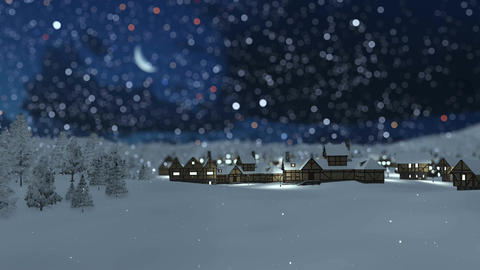 Dreamlike snowy township at snowfall winter night Animation