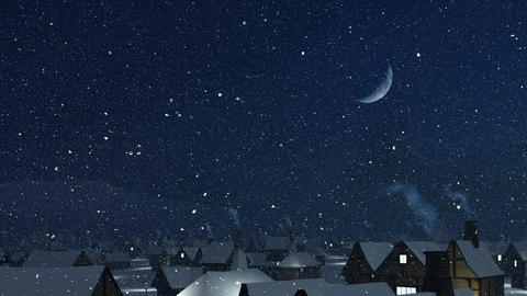 Flight over snowy roofs with smoking chimney at winter night Animation