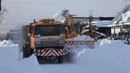 Snow plough working, Hokkaido, Japan Footage