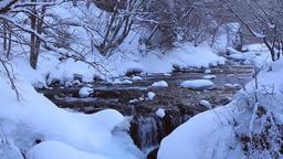 Mountain water stream under the snow, Hokkaido, Japan Footage