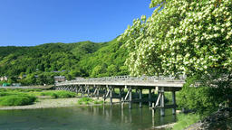 Togetsu-Kyo Bridge, Kyoto, Japan Footage