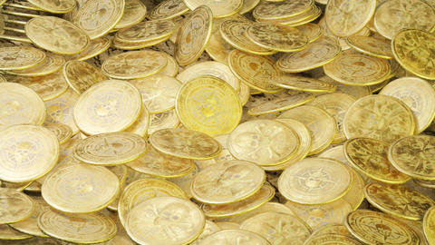 A lot of pirate doubloons in one pile. Pirate wealth and treasure Animation