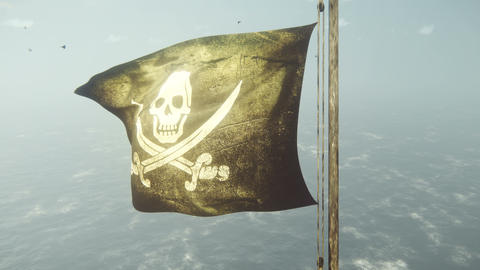 An old pirate ship with a flying pirate flag plows the ocean in the early foggy morning Animation
