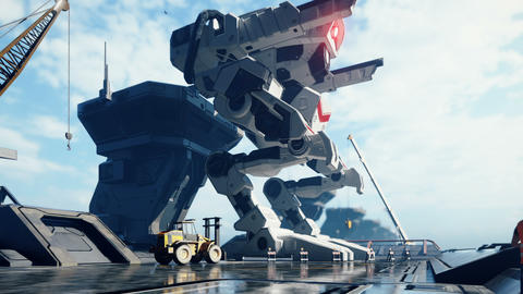 A huge military robot on a futuristic military training ground. An apocalyptic view of the Animation
