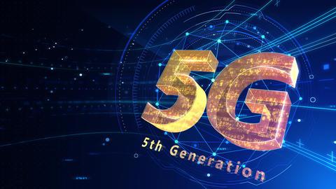 5G Digital Network technology 5th generation mobile communication concept background 503 blue 4k Animation