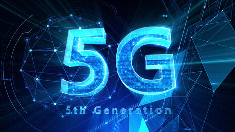 5G Digital Network technology 5th generation mobile communication concept background 509 blue 4k Animation