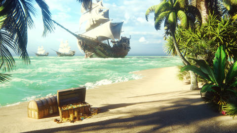 Sand, sea, sky, clouds, palm trees and a clear summer day. Pirate frigates docked near the island. Animation