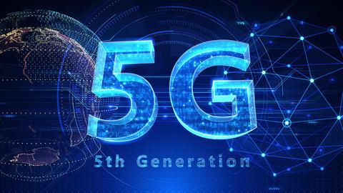 5G Digital Network technology 5th generation mobile communication concept background 517 blue 4k Animation