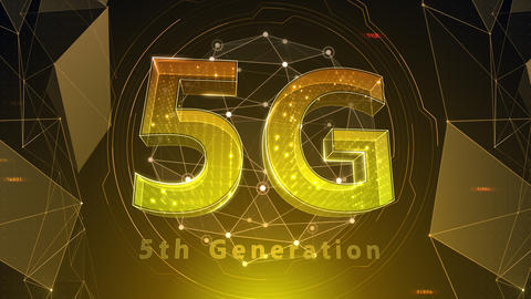 5G Digital Network technology 5th generation mobile communication concept background 518 red 4k Animation