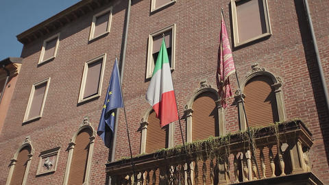Italian and european flag in an historical building Live Action