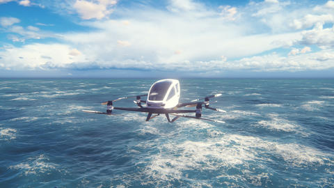 An unmanned passenger air taxi flies over the sea. The concept of the future driverless taxi. 3D Animation