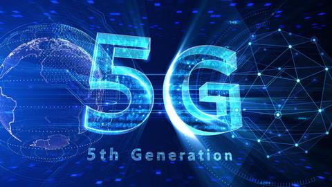 5G Digital Network technology 5th generation mobile communication concept background 525 blue 4k Animation