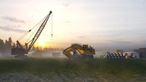 Construction site with cranes and tractors, industrial landscape at sunset. Construction background, Animation