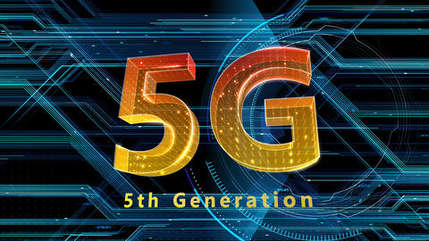 5G Digital Network technology 5th generation mobile communication concept background 526 black 4k Animation