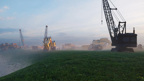 Construction site with tractors and cranes, industrial landscape at sunset. Construction background, Animation