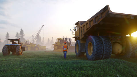 Construction site with cranes, tractors and engineer, industrial landscape at sunset. Building Animation