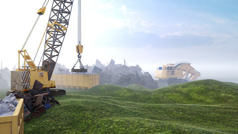 Construction site with tractors and cranes, industrial landscape in a foggy morning. The concept of Animation