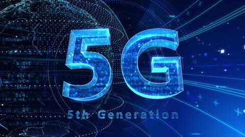 5G Digital Network technology 5th generation mobile communication concept background 529 blue 4k Animation