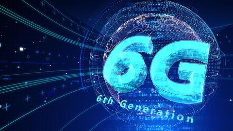 6G Digital Network technology 6th generation mobile communication concept background 504 blue 4k Animation