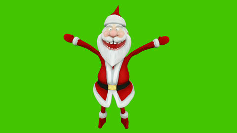 The dance of a cheerful Santa Claus. The Concept Of Christmas. Looped animation in front of green Animation