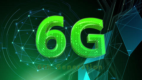 6G Digital Network technology 6th generation mobile communication concept background 511 green 4k Animation