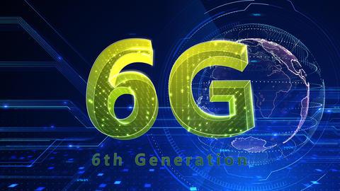 6G Digital Network technology 6th generation mobile communication concept background 512 blue 4k Animation