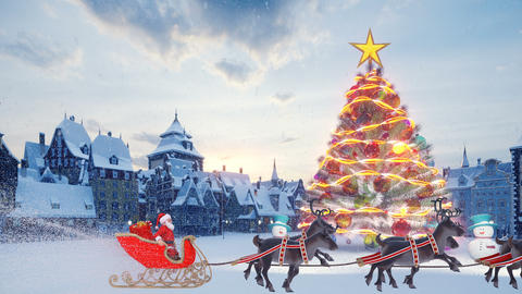 Christmas tree with colorful glowing colorful balls. Santa Claus on a Christmas sleigh with Animation