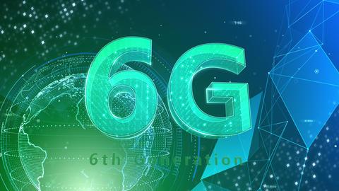 6G Digital Network technology 6th generation mobile communication concept background 515 green 4k Animation