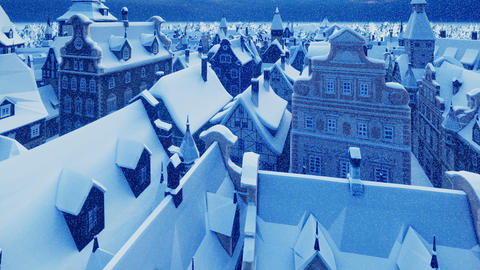 Flying over a small ancient snowy night town. The Concept Of Winter Animation