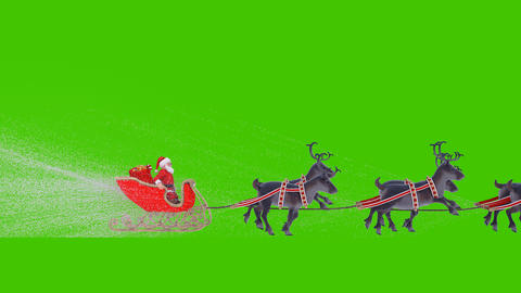 Santa Claus on a Christmas sleigh with reindeer. Animation in front of green screen Animation